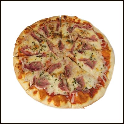 Pizza con jamón york 8.50€